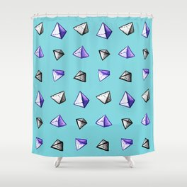 Blue Geometric Watercolor Pyramid Pattern Shower Curtain