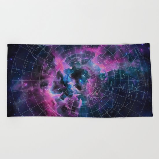Space star map Beach Towel