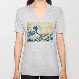 Japanese Woodblock Print The Great Wave of Kanagawa by Katsushika Hokusai Unisex V-Neck