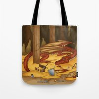 smaug Tote Bags featuring Smaug, the last dragon by danielasynner