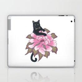 Black Cat on Flower Laptop & iPad Skin