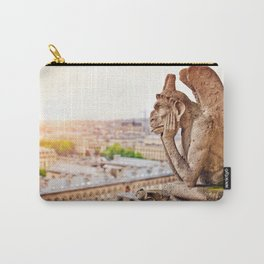 Thinking figure Chimera or Gargoyle in Paris, France, Basilica of Notre Dame Carry-All Pouch