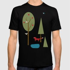 Fox in the Forest LARGE Black Mens Fitted Tee