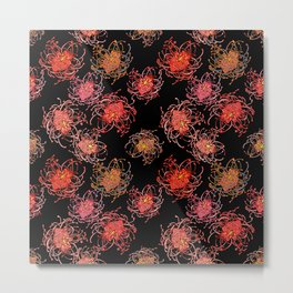 Australian Native Floral Print on black background Metal Print