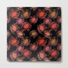 Australian Native Floral Print on black background Metal Print