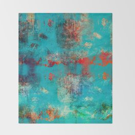Aztec Turquoise Stone Abstract Texture Design Art Throw Blanket