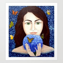 The woman who talk with butteflies Art Print