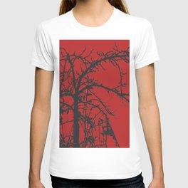 Creepy tree silhouette, black on red T-shirt