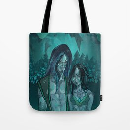 Illustration digital art native hippie couple on mountain with blue feeling Tote Bag