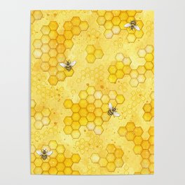 Meant to Bee - Honey Bees Pattern Poster