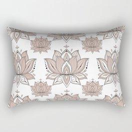 Lotus Mandala Doodle Pink Marble Pattern Rectangular Pillow