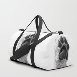 Black and White Dog Paw Duffle Bag