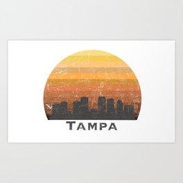 Tampa Distressed Skyline Silhouette Art Print