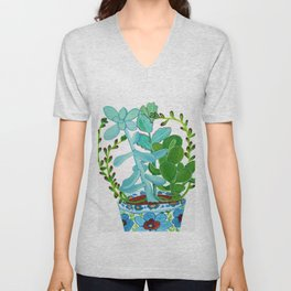 Indian Pot with Succulents Unisex V-Neck