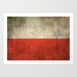 Old and Worn Distressed Vintage Flag of Poland Art Print