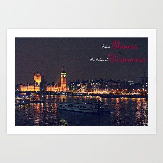 River Thames and Palace of Westminster - Colour  Art Print