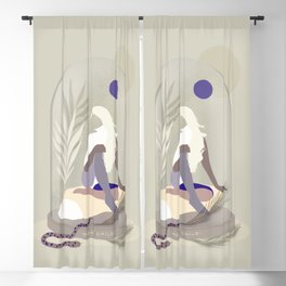 Moon Child - Girl in Wild Nature Blackout Curtain