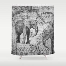African Spirit Vintage Elephant black white Shower Curtain