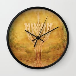 Candelar-Chanukkah light-light-judaica art-hand painted-bright colors Wall Clock