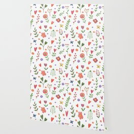 Cute hand drawn flowers pattern Wallpaper