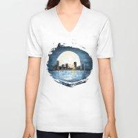 milwaukee V-neck T-shirts featuring Milwaukee Night by Kristiekoz