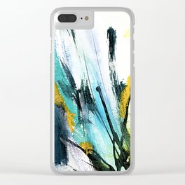 Splash: a vibrant mixed media piece in blues and yellows Clear iPhone Case
