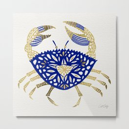 Crab – Navy & Gold Metal Print