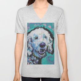 Fun Doodle Dog bright colorful Pop Art by Lea Unisex V-Neck