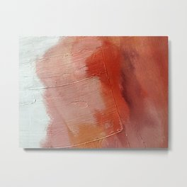 Desert Journey [1]: a textured, abstract piece in pinks, reds, and white by Alyssa Hamilton Art Metal Print