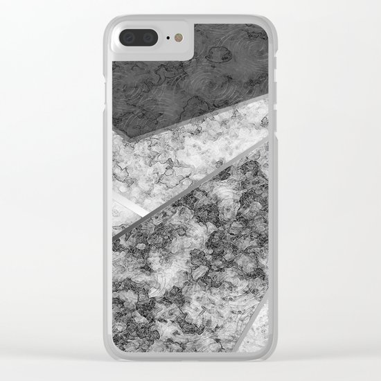 Combined abstract pattern in black and white . Clear iPhone Case