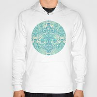 bedding Hoodies featuring Botanical Geometry - nature pattern in blue, mint green & cream by micklyn