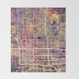 Phoenix Arizona City Map Throw Blanket