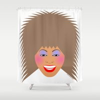 tina crespo Shower Curtains featuring Greatest Tina by tuditees