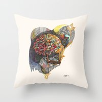 notebook Throw Pillows featuring notebook flora by Hayley Powers Studio