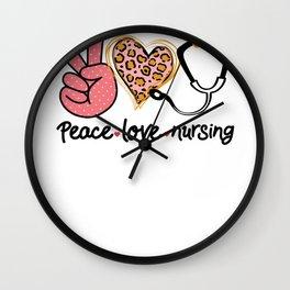Peace Love and Nursing Female Nurse Wall Clock