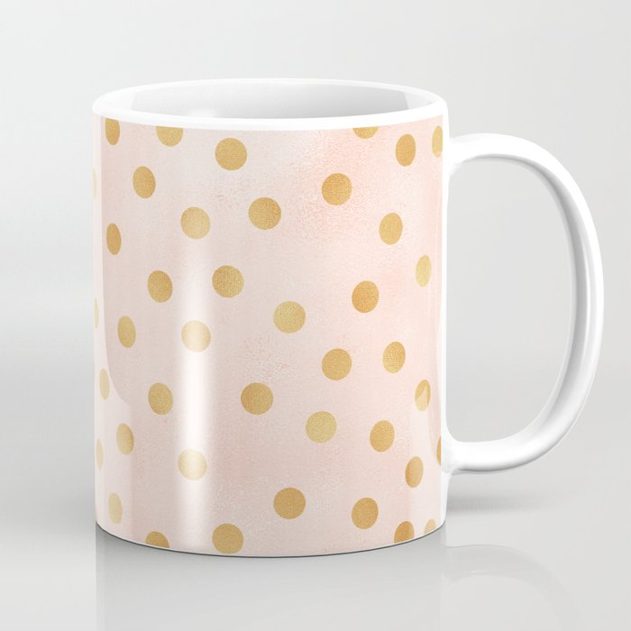 Golden Polka Dots On Pastel Pink Coffee Mug