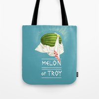 caleb troy Tote Bags featuring Melon of Troy by Dav Yendler