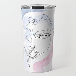 Contour Line Girl Travel Mug