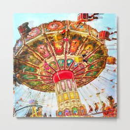 Vintage retro, bright, colorful carnival swing ride Metal Print