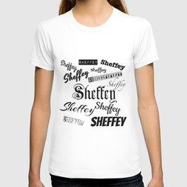 Sheffey Fonts in Black T-shirt