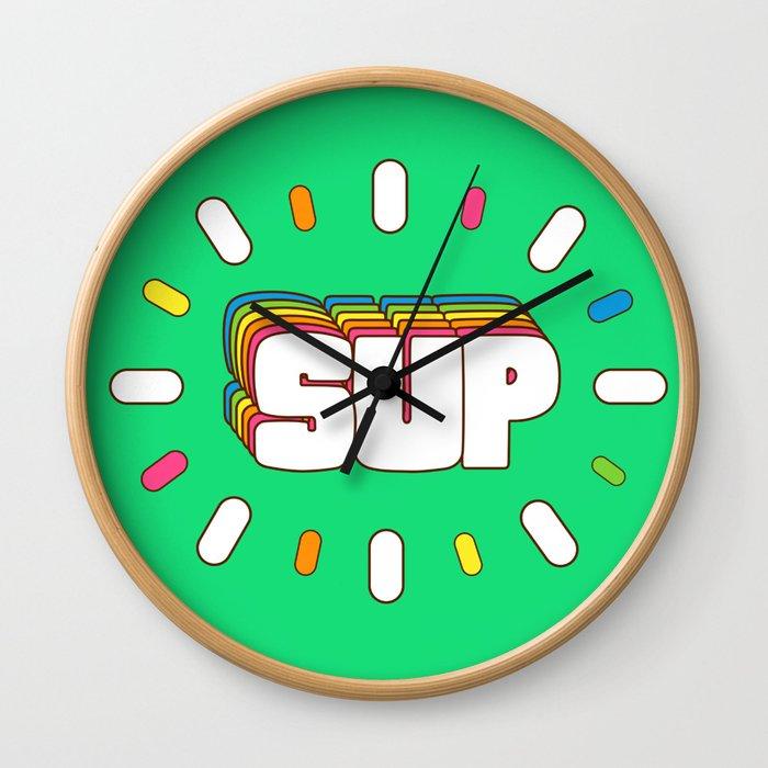 Sup! Colorful meme fun Wall Clock