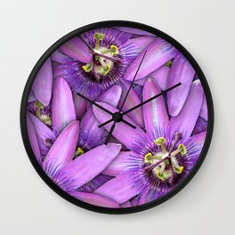 Passion Fruit Blossoms Wall Clock