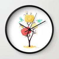autumn Wall Clocks featuring Autumn by Freeminds