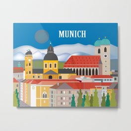 Munich, Germany - Skyline Illustration by Loose Petals Metal Print