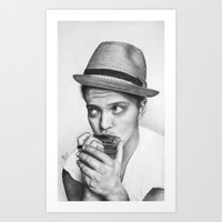 bruno mars Art Prints featuring Bruno Mars by Pritish Bali