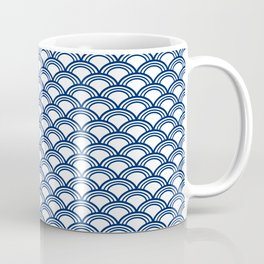 Royal Blue Seigaiha Pattern Coffee Mug