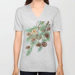 pine cones watercolor Unisex V-Neck
