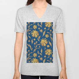 Elegant Gold Mustard Yellow Echinacea Cone Flowers on Classic Blue Unisex V-Neck