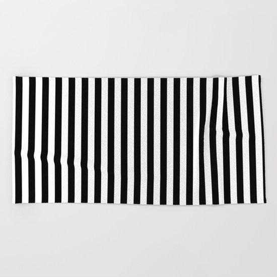 Vertical Stripes (Black/White) Beach Towel