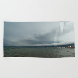 Storm in the city and the sea. Beach Towel